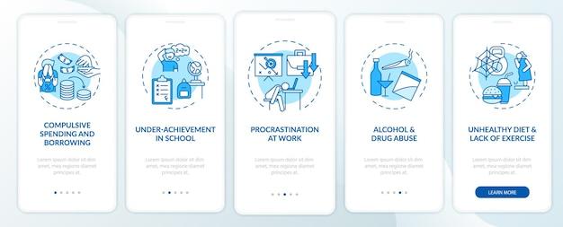 Principais problemas de autocontrole tela azul da página do aplicativo móvel com conceitos
