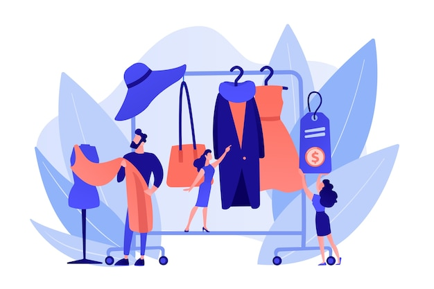 Principal designer mestre criando designs de roupas da moda e pendurando-os no cabide. casa de moda, casa de design de roupas, conceito de produção de moda. ilustração de vetor isolado de coral rosa