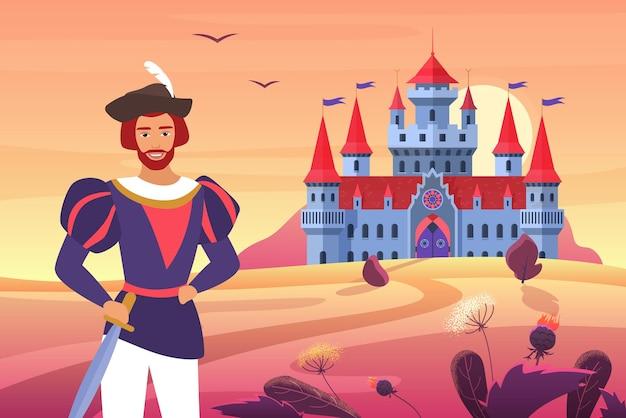 Príncipe com roupas medievais ao lado do castelo da fantasia em uma paisagem de conto de fadas