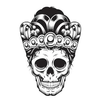 Príncipe crânio mãe em projeto de cabeça de coroa em fundo branco. dia das bruxas. ícones ou logotipos de cabeça de crânio. ilustração vetorial.
