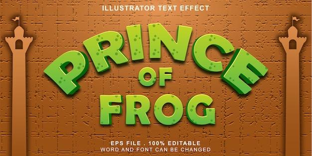 Príncipe de sapo texto efeito editável 3d e fundo