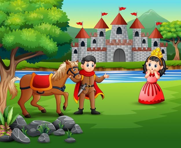 Príncipe dos desenhos animados e princesa com um fundo de castelo