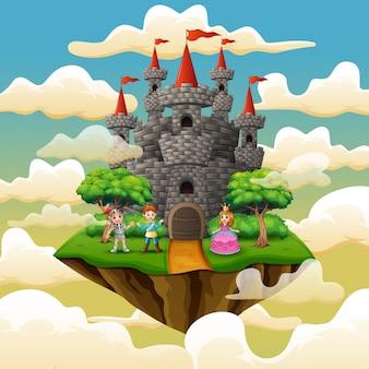 Príncipe dos desenhos animados e princesa na frente de um castelo na nuvem