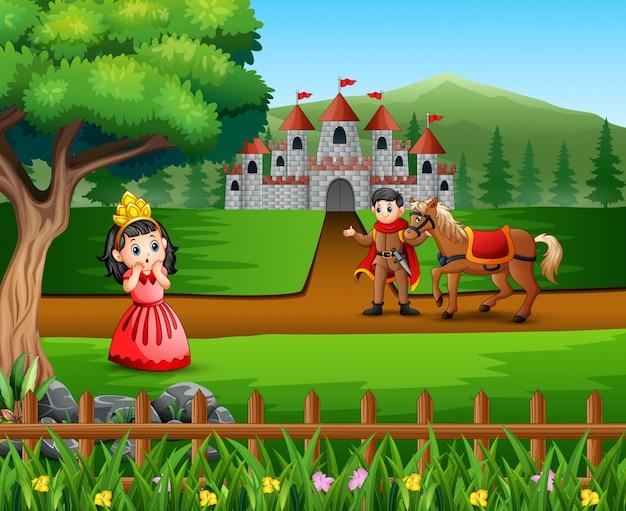 Príncipe dos desenhos animados e princesinha com um castelo