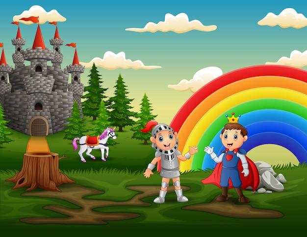 Príncipe e cavaleiro ao ar livre com um pátio do castelo