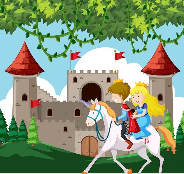 Príncipe e princesa a cavalo