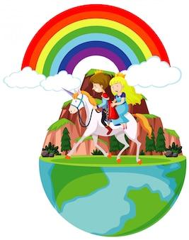 Príncipe e princesa andando a cavalo pela montanha