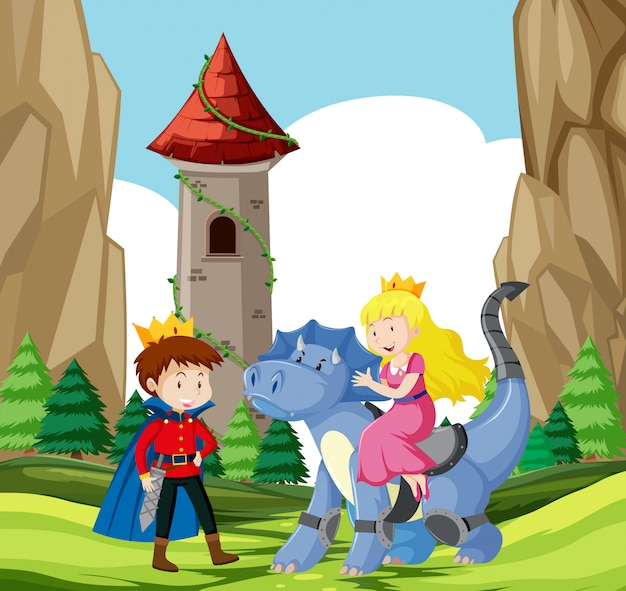 Príncipe e princesa castelo cena