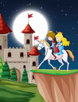 Príncipe e princesa cavalgando fantasia unicórnio à noite com a lua