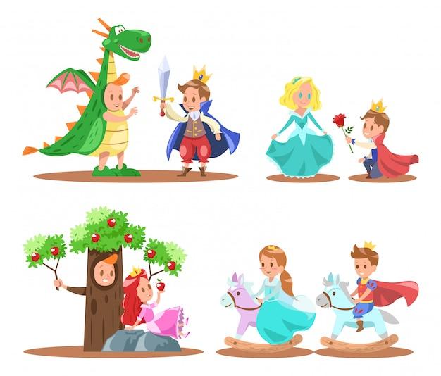 Príncipe e princesa design de personagens