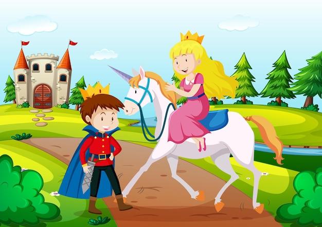 Príncipe e princesa em cenário terrestre de conto de fadas