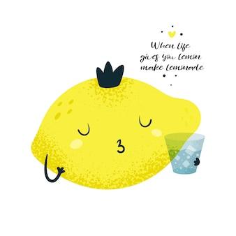 Príncipe rei do limão. cartão de motivação. quando a vida te der limonada faça limonada