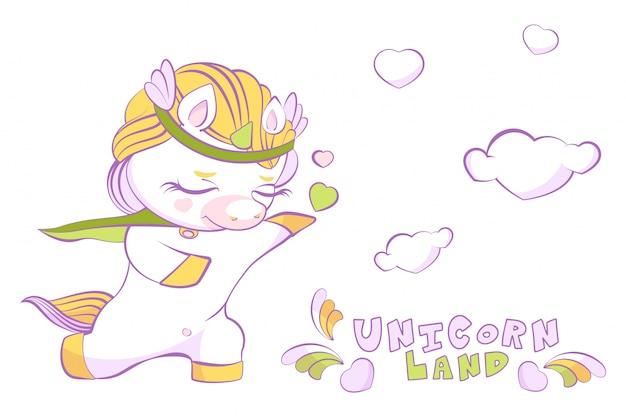 Príncipe unicórnio fofo branco apaixonado em um joelho