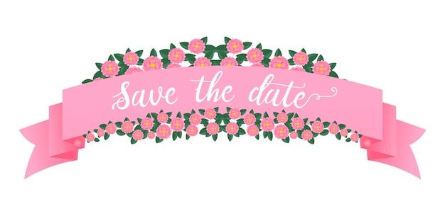 Printbanner rosa com flores