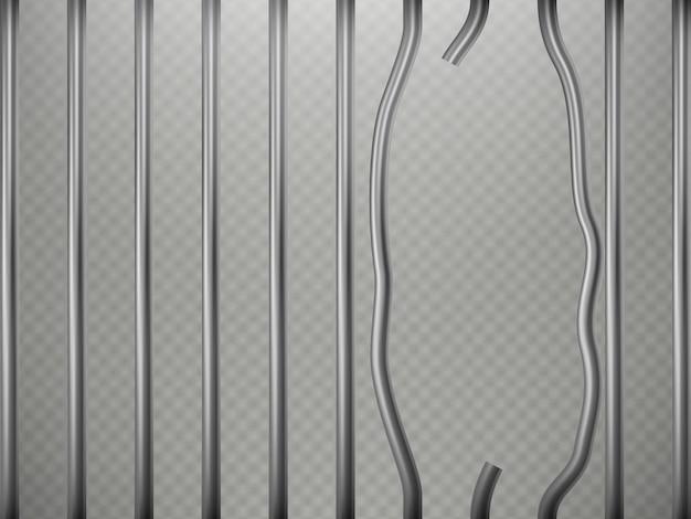 Prisão quebrada barras efeito de primeiro plano, isolado em fundo transparente. grade de aço.