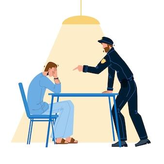 Prisioneiro criminoso interrogatório policial