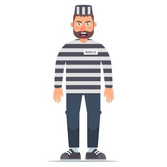 Prisioneiro isolado de corpo inteiro em roupas listradas, sobre um fundo branco. ilustração plana de personagem na prisão.