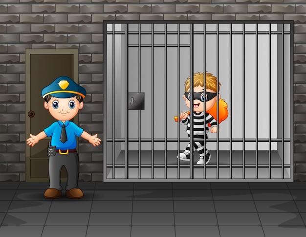 Prisioneiro na prisão sendo guardado por guardas da prisão