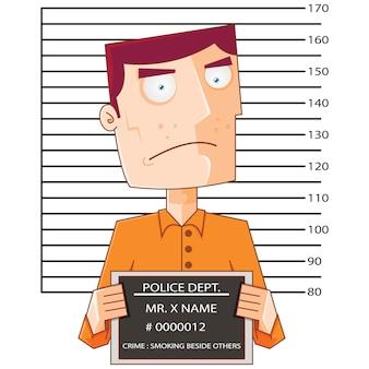 Prisioneiro número doze com placa de dados da polícia
