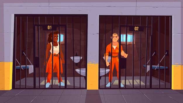 Prisioneiros na prisão. pessoas em macacões laranja na cela. presos condenados personagens masculinos em pé atrás de barras de metal. a vida no presídio. polícia, interior dentro de casa. caricatura, vetorial, ilustração