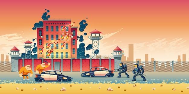 Prisioneiros rebeldes ou tumultos na prisão da cidade