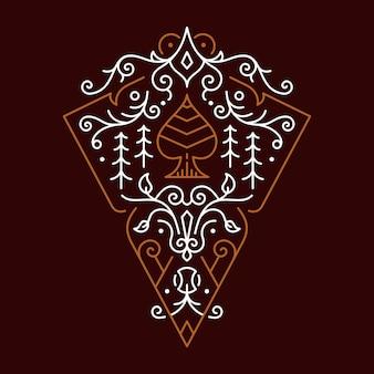 Prisma decorativo de ornamento de ás de espadas