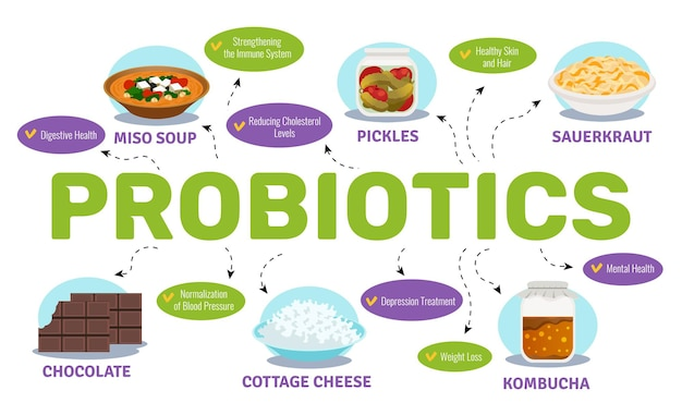 Probióticos e conceito de saúde com ilustração plana de símbolos de alimentos e bactérias