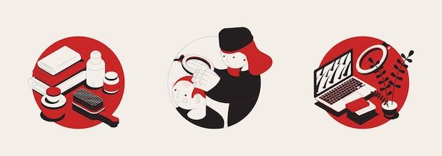 Problema de cabelo definido com ilustração redonda