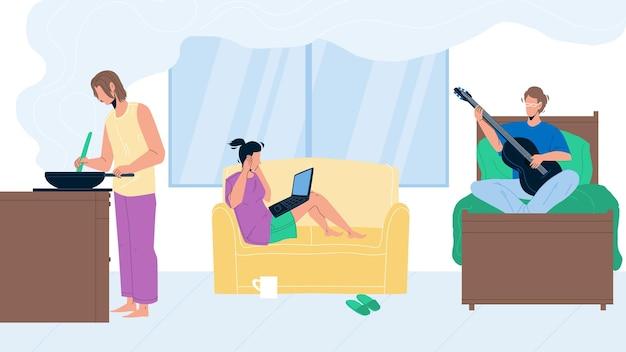 Problema de companheiro de quarto no vetor de quarto de albergue de estudante. menina sentada no sofá com laptop e cobrir as orelhas porque menino tocando guitarra, senhora preparar o prato, problema do companheiro de quarto. personagens plana ilustração dos desenhos animados