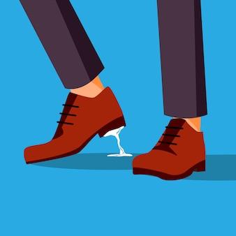Problema de negócios preso nos pés. empresário sapato com goma de mascar
