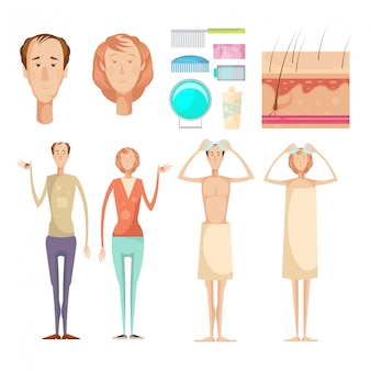 Problema de perda de cabelo isolado infográfico conjunto de elementos