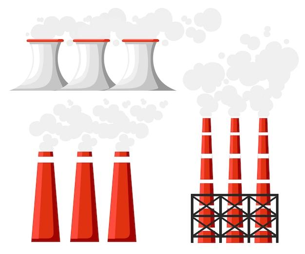 Problema de poluição ambiental. conjunto de tubos de fumaça de fábrica. a fábrica da terra polui com gás carbônico. ilustração. ilustração
