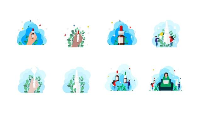 Problema de saúde sazonal, infecção, vírus. gotas nasais para facilitar a respiração durante alergias e doenças. grande conjunto de conceito otorrinolaringologia, tratamento, rinite, alergias