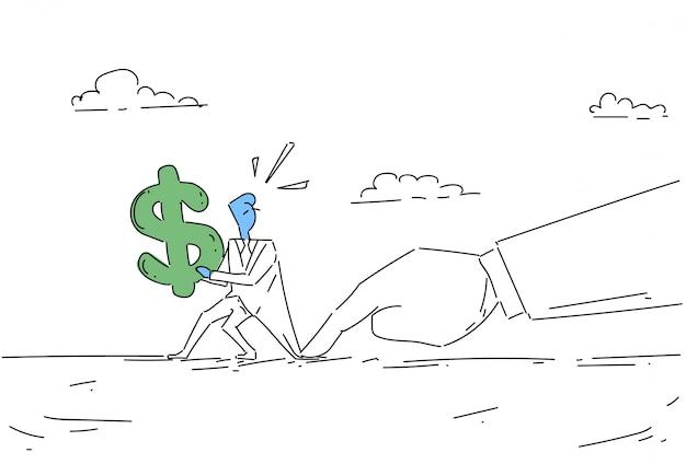 Problema do sinal de dólar da preensão da mão do homem de negócios, conceito da crise da finança do homem de negócio