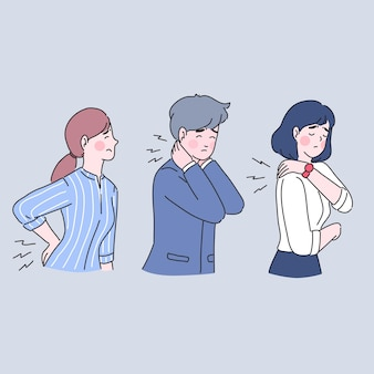 Problema médico, dor nas costas com empresários