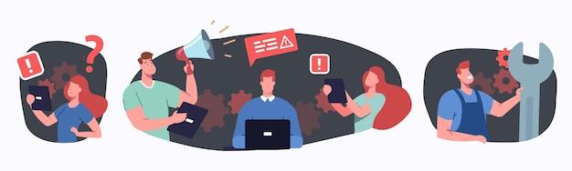 Problema no conceito de trabalho. personagens de empresários tendo problemas no local de trabalho, erro no sistema do computador, falha, situação de estresse no prazo, suporte técnico, pressão. ilustração em vetor desenho animado