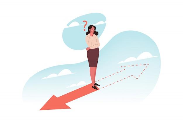 Problema, pensamento, escolha, direção, conceito do negócio