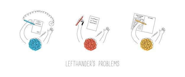 Problemas com as pessoas canhotas. usando caneta com corrente em um banco anexado à direita, borrando a tinta, desenhando livros do tutorial passo a passo. dia internacional dos canhotos. ilustração