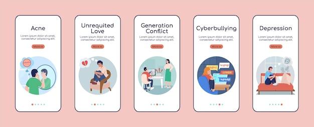 Problemas de crianças adolescentes ao integrar o modelo de vetor plano da tela do aplicativo móvel