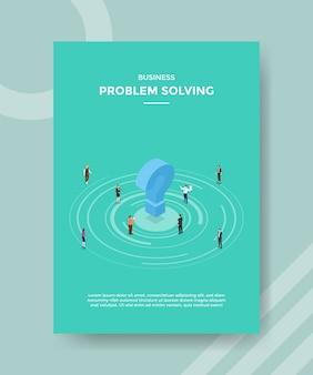 Problemas de negócios resolvendo pessoas em torno do ponto de interrogação para o folheto modelo e capa de banner impressa