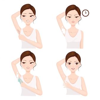 Procedimento de remoção de pêlos de axila por si mesmo