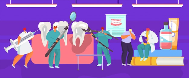 Procedimento médico dental de extração de dente pelo cirurgião dentista, ilustração dos desenhos animados de anatomia da boca.