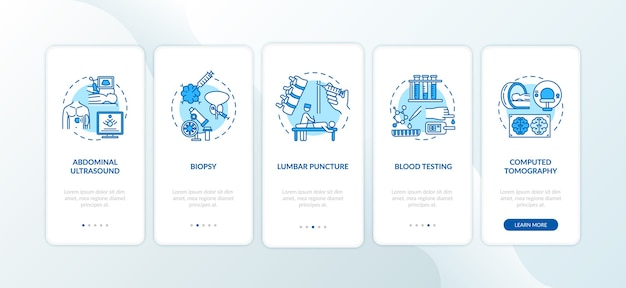 Procedimentos de diagnóstico na tela da página do aplicativo móvel com conceitos