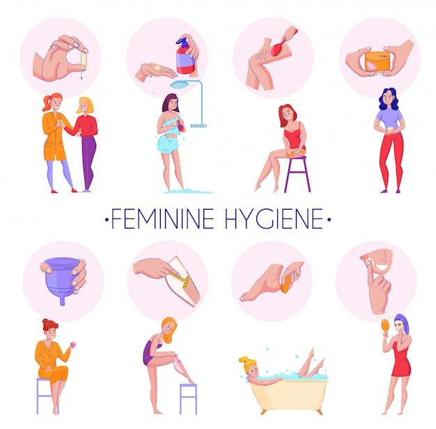 Procedimentos de produtos de higiene feminina composições informativas planas definida com pele massagem órgãos reprodutivos ilustração vetorial de cuidados de saúde