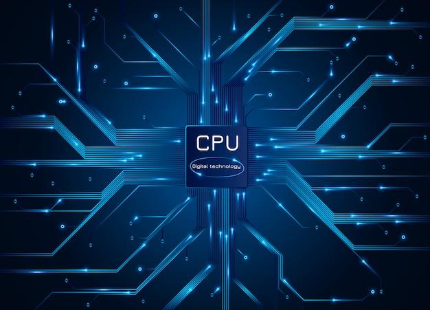 Processador de computador. placa de circuito eletrônico de chip de cpu com processador.