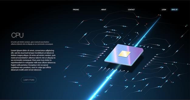 Processador de microchip futurista com luzes no fundo azul. computador quântico, processamento de dados grandes, conceito de banco de dados.