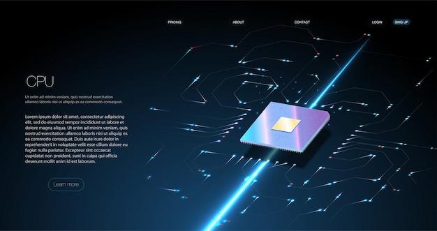 Processador de microchip futurista com luzes no fundo azul.