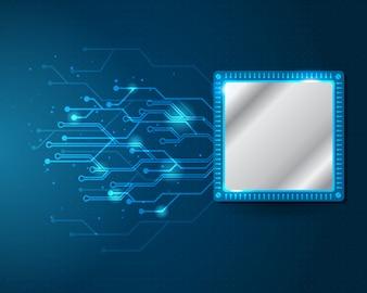 Processador e circuito elétrico trabalhando conceito digital