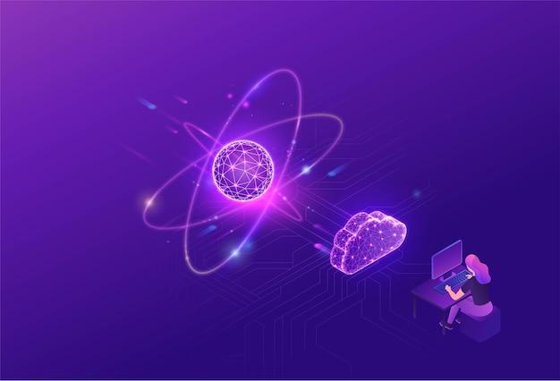 Processador futurista de computador quântico