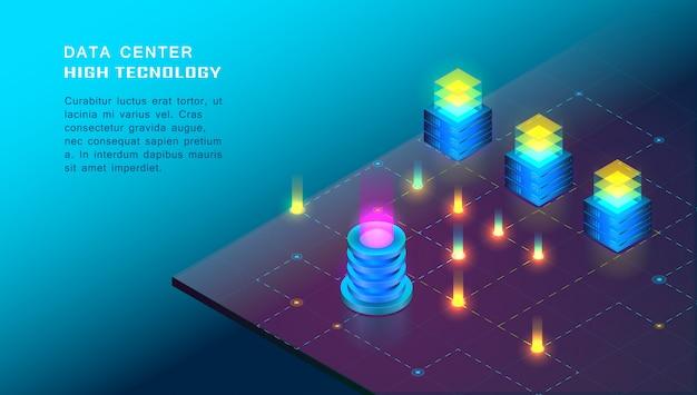 Processamento de dados grande isométrico, hospedagem na web, conceito de servidor